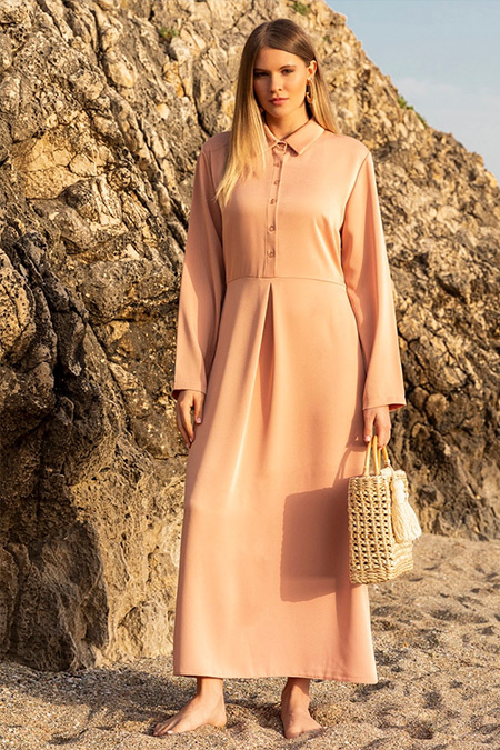 Alia Pudra Düğme Detaylı Elbise