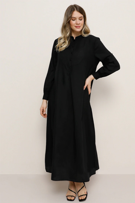 Alia Siyah Doğal Kumaşlı A Pile Detaylı Elbise