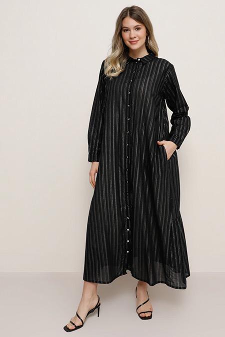Alia Siyah Lame Doğal Kumaşlı Sim Detaylı Şifon Elbise