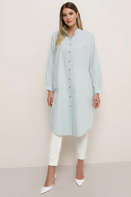 Alia Su Yeşili Boydan Düğmeli Gömlek Tunik