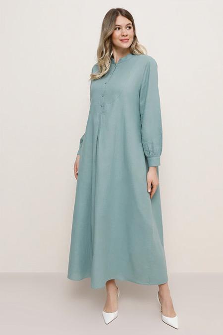 Alia Su Yeşili Doğal Kumaşlı A Pile Detaylı Elbise
