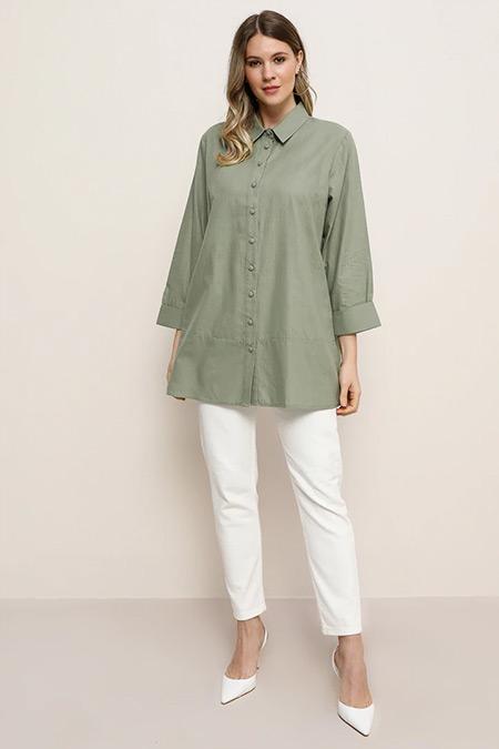 Alia Su Yeşili Doğal Kumaşlı Gömlek Tunik