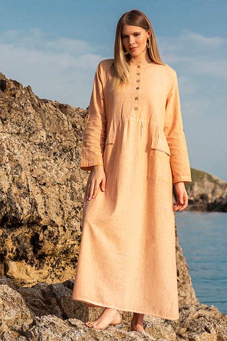 Alia Taş Doğal Kumaşlı Cep Detaylı Elbise