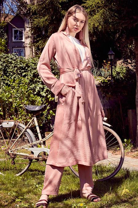 Ayşen Özen Gül Kurusu Kimono Pantolon İçlik Üçlü Takım