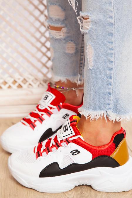 Ayakkabı Havuzu Beyaz Kırmızı Sarı Spor Ayakkabı