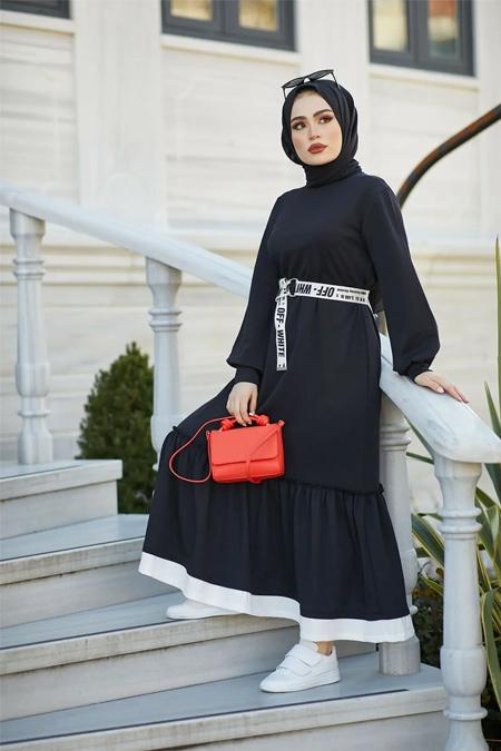 Benguen Siyah Fırfır Detaylı Tesettür Elbise