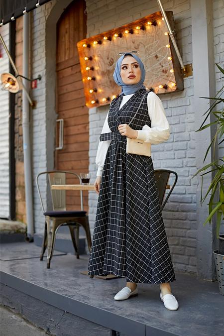 Benguen Siyah Kare Desen Jile Elbise Tesettür Kombin