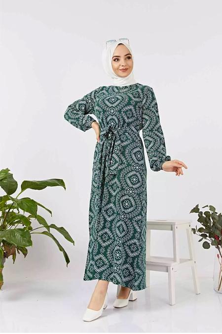 Benguen Yeşil Desen Kuşaklı Elbise