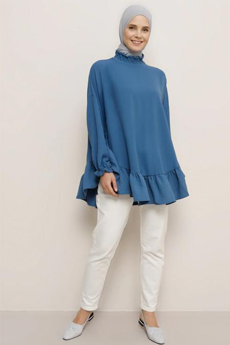 Benin Lacivert Volanlı Bluz