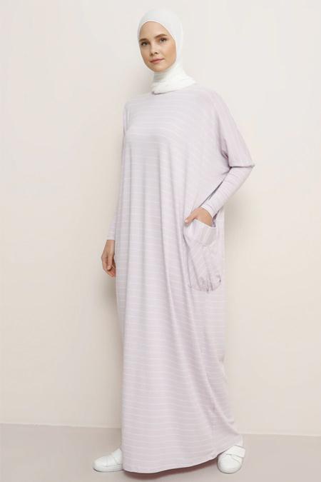 Benin Lila Doğal Kumaşlı Cepli Salaş Elbise