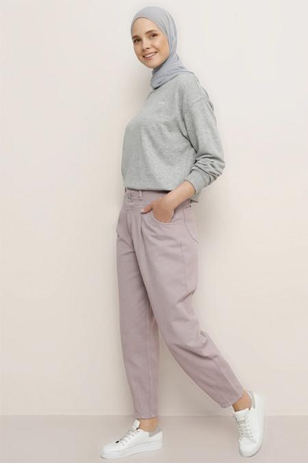 Benin Lila Doğal Kumaşlı Kot Pantolon