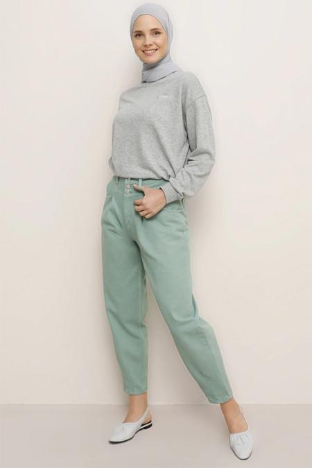 Benin Nil Yeşili Doğal Kumaşlı Kot Pantolon