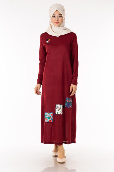 Bordo Çiçek Yamalı Triko Elbise