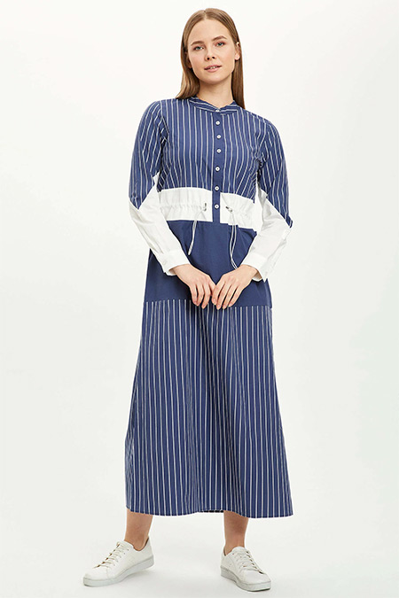 Defacto Açık Lacivert Çizgi Detaylı Büzgülü Dokuma Elbise