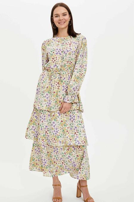 Defacto Desen Detaylı Fırfırlı Dokuma Elbise