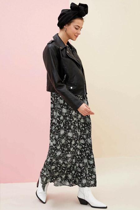 Defacto Kol Detaylı Dokuma Siyah Elbise