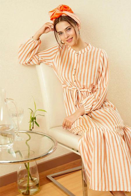 Defacto Turuncu Relax Fit Uzun Kollu Elbise