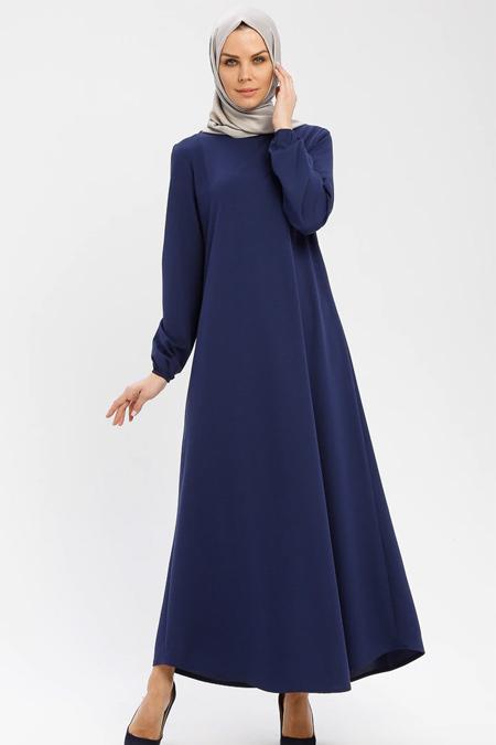 Ecesun Mavi Kol Ucu Lastikli Elbise