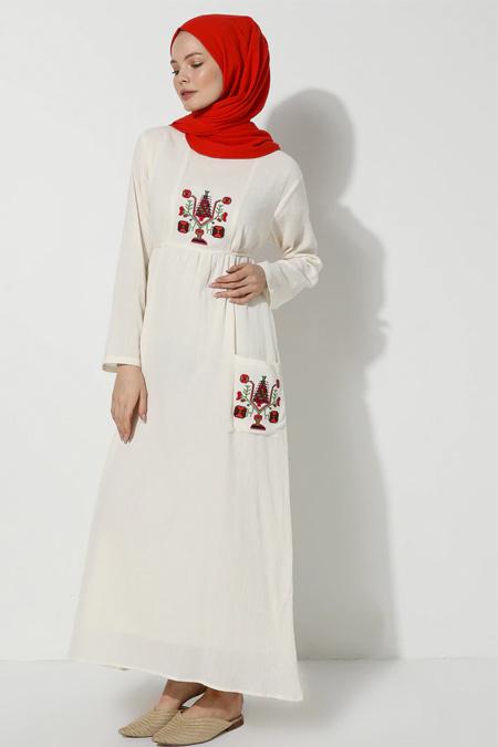 Elis Şile Bezi Krem Şile Bezi Nakışlı Elbise