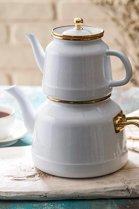 Emsan Beyaz Troy Emaye Çaydanlık Takımı