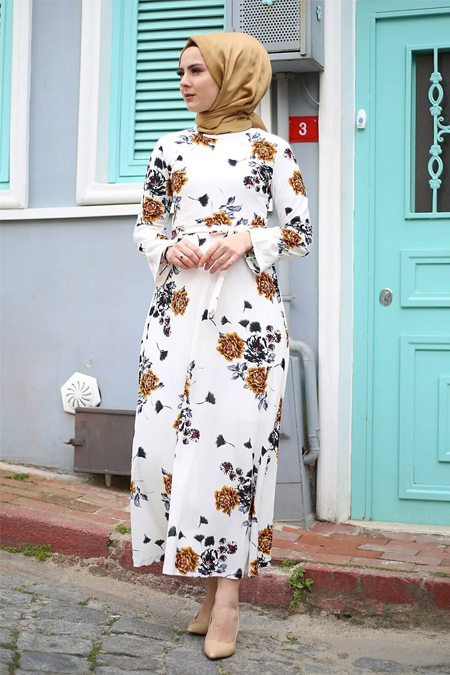 Festmoda Çiçek Desenli Elbise