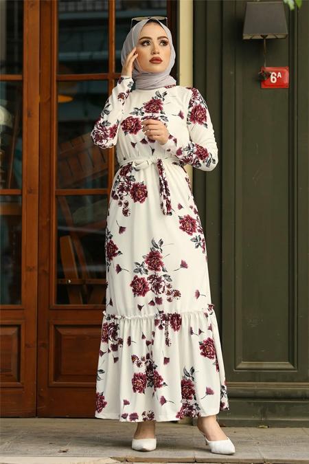 Festmoda Mor Çiçek Desenli Elbise