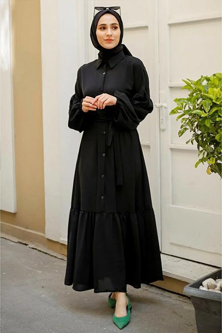 Gizce Siyah Ege Elbise