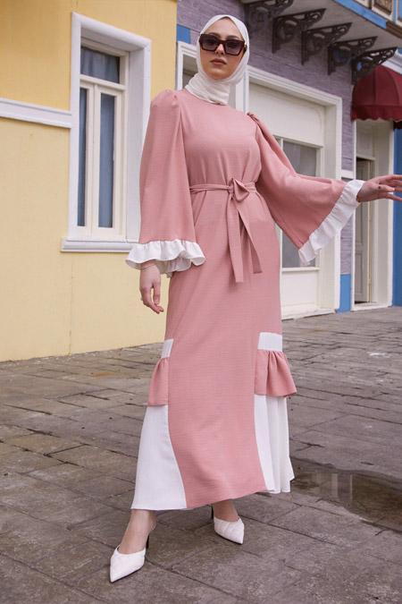 Gizem Kış Aerobin Pudra Elbise