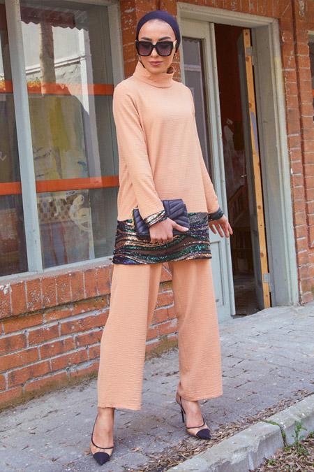 Gizem Kış Yavruağzı Tunik Pantolon İkili Takım
