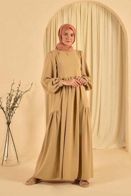 HE-QA Camel Kolu Büzgülü Elbise