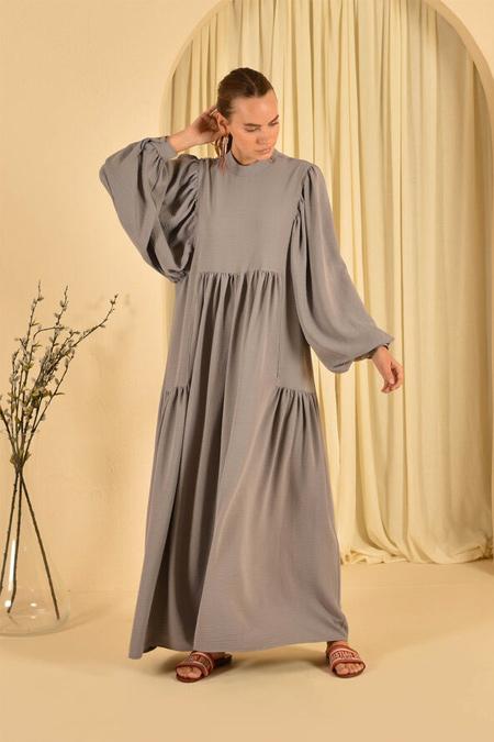 HE-QA Gri Kolu Büzgülü Elbise