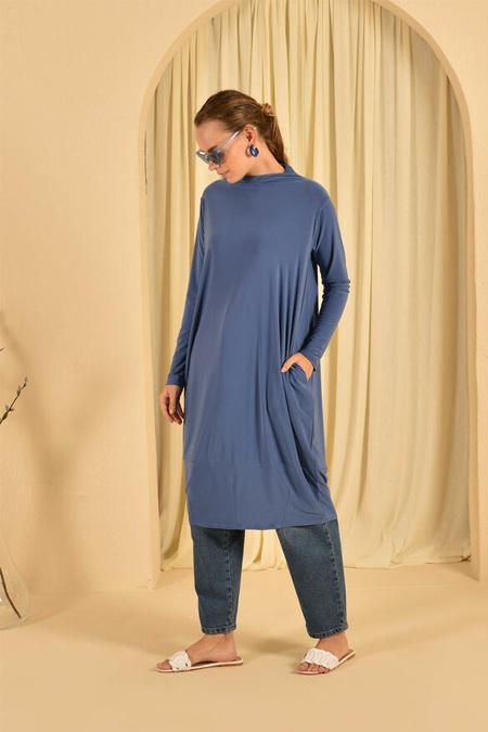 HE-QA Mavi Eteği Pensli Tunik