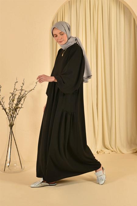 HE-QA Siyah Kolu Büzgülü Elbise