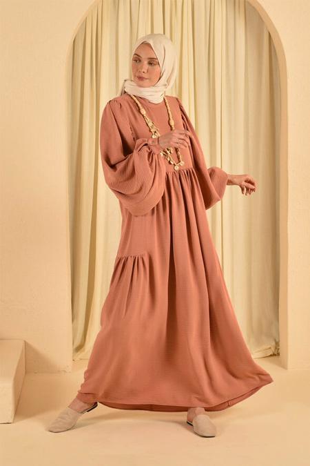 HE-QA Somon Kolu Büzgülü Elbise