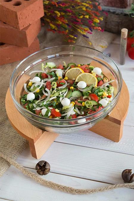 JOY KİTCHEN Gardenıa Ahşap Standlı Salata Kasesi