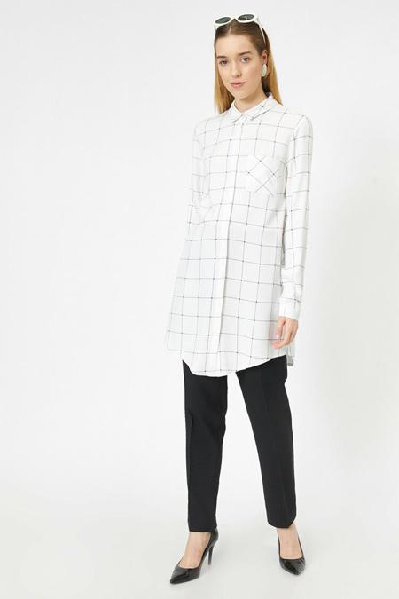 Koton Siyah Kareli Ekoseli Gömlek Yaka Düğmeli Tunik