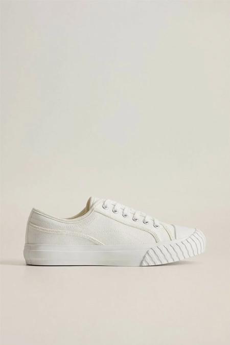 Mango Kırık Beyaz Bağcıklı Pamuklu Spor Ayakkabı