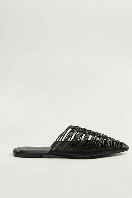 Mango Siyah Topuğu Açık Örgü Ayakkabı