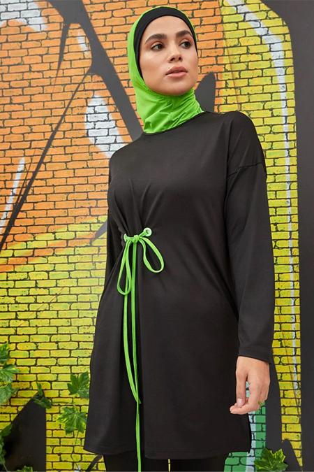 Mayovera Siyah Fosforlu Yeşil Kuş Gözü Detaylı Tasarım Mayo