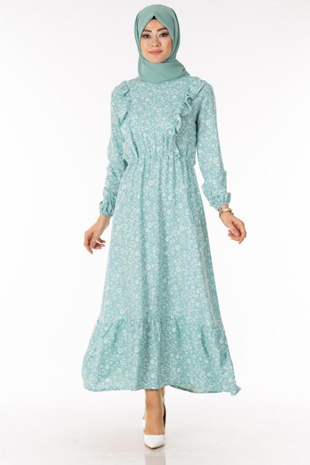 Mint Çiçekli Fırfırlı Tesettür Elbise