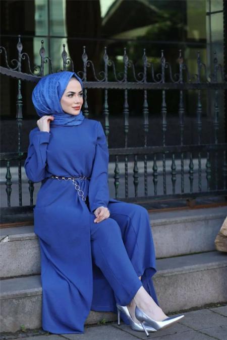 Moda Ekru İndigo İkili Tulum Pantolon Takım