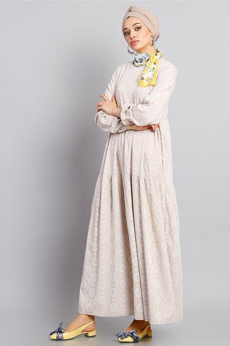 Modamelis Bej Güpür Desenli Elbise