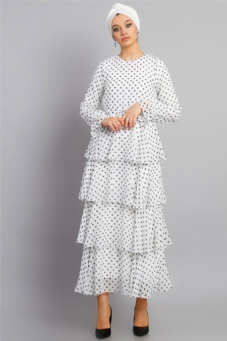 Modamelis Beyaz Kat Kat Puanlı Elbise