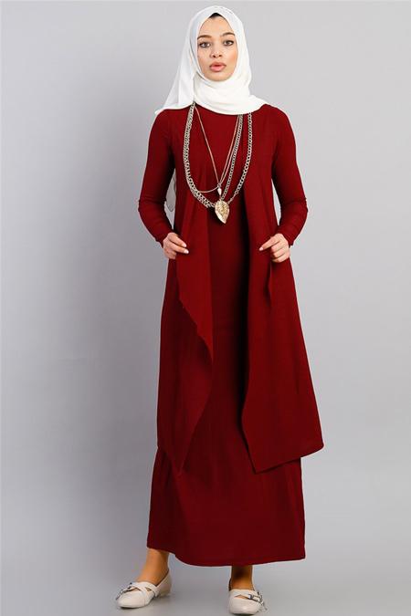 Modamelis Bordo İkili Elbise Takım