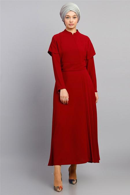 Modamelis Bordo Yandan Piliseli Elbise
