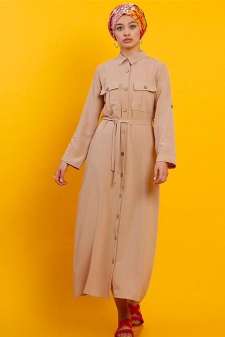 Modamelis Camel Aerobin Düğmeli Elbise