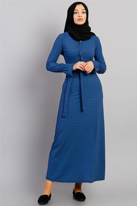 Modamelis İndigo Beli İpli Elbise