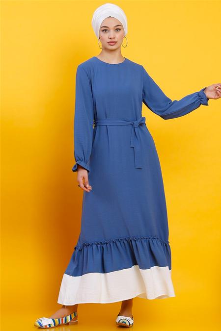 Modamelis İndigo Eteği Fırfırlı Aerobin Elbise