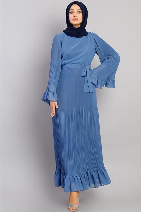 Modamelis İndigo Şifon Piliseli Elbise