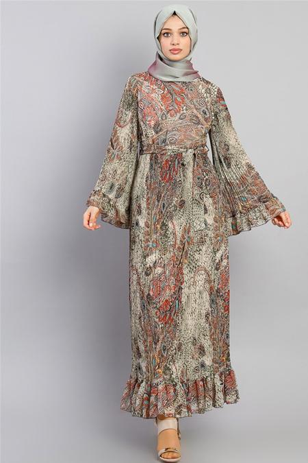 Modamelis Kahverengi Kolları Volanlı Çiçekli Şifon Elbise